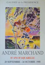 """André MARCHAND (1907-1997) Affiche d'art Offset """"15 ans d'aquarelle"""" de 1988"""