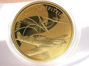 2015 9ct Gold Supermarine Spitfire Commemorative Medal Battle of Britain + 2 COA