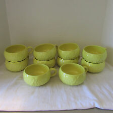 VTG (10) Secla Cabbage Yellow Majolica Soup Cup Bowls with Handles Portugal