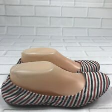 Lucky Brand Women Size 8M Shoes Emmie Flats Red Blue White Stripe Canvas Slip On