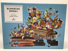 "Galison""Blooming Books"" Shaped Jigsaw Puzzle Art Ben Giles 750 Pieces"