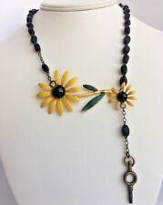 Repurposed Flower Daisy Enamel Yellow Bling Necklace 20in Handmade VTG Rosary