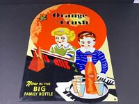 "BIG VINTAGE ""ORANGE CRUSH"" SODA POP ADVERTISING METAL SIGN 12"" X 18"" GAS STATION"