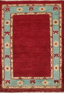 Bordered Gabbeh Kashkoli Oriental Area Rug Hand-knotted Contemporary 2x3 Carpet