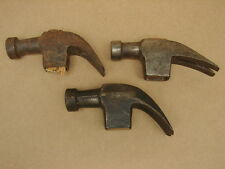 Antique Vintage Claw Hammer Head Tool // Lot of Three