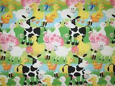 FARM ANIMALS PIG SHEEP COW DUCK CHICKEN FLANNEL FABRIC FQ OOP