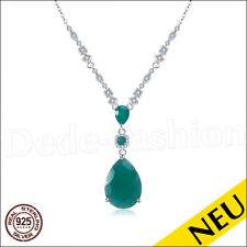 NEU 🌸 Luxus COLLIER 925 Sterling Silber Grün ACHAT & Cubic Zirkonias 🌸 Green