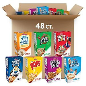 Kellogg's, Breakfast Cereal, Single-Serve Boxes, Variety Pack, Assortment Varies