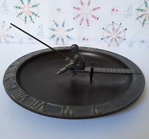 "NEW Whitehall 12-1/2"" SUNDIAL + Birdbath/Bird Feeder, Bronze Metal, Boy Fishing"
