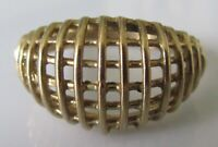 Vintage 9ct yellow gold abstract mesh style ring size O 1/2 (3.2g)