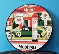 VINTAGE MOBIL MOBILGAS GARGOYLE PORCELAIN GAS SERVICE STATION PUMP PLATE SIGN