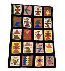 VTG Wool Rug Blanket Aztec Folk Native American Art Boho Ethnic Bird 3x4 READ
