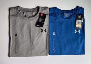 NEW Under Armour Men's Heatgear UA Tech T-Shirt True Grey-Royal Blue Medium
