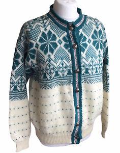 Vintage Women's Merrimac Valley Alps Pure Wool Nordic Cardigan Cream Green M