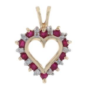 Yellow Gold Ruby & Diamond Heart Wreath Pendant - 10k Round Cut .32ctw Love