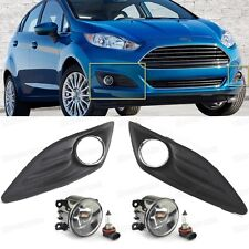 1Set Front Fog lights Lamp & Cover Grille New for 2013-2016 14 15 Ford Fiesta