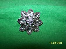 Unsigned Silvertone Brooch Pin clear stones.  No missing stones