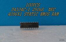100 PCS D4104 -1 NEC JAPAN 4K 4096X1 NMOS STATIC RAM 250ns 28mW DIP-18  NOS RARE