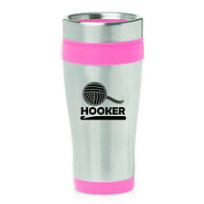 Stainless Steel Insulated 16 oz Travel Coffee Mug Cup Funny Crochet Hooker