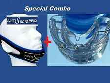 Stop Snoring MouthPiece Sleep Apnea Night Guard TMJ + Anti Snore Chin Strap Belt