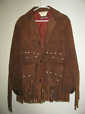 Vtg 1970s Suede Leather Vazquez Mexico Western sz 36 Fringe Jacket Coat Brown