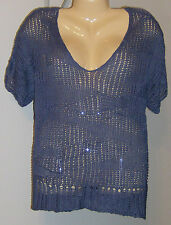 Eileen Fisher V-Neck Sweater NWT Large BLANG Dolman Short Sleeve Blue Gorgeous