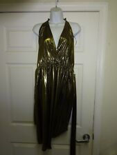 JS COLLECTIONS Gold Shimmer Gown Dress 16W Halter Top tie behind neck Poly
