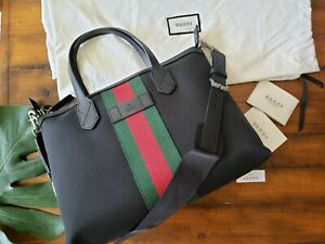 ♡NWT♡ Gucci bag Black Techno Canvas Luggage with Gucci Red Green Web Stripe M
