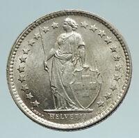 1962 SWITZERLAND SILVER 1/2 Francs Coin HELVETIA Symbolizes SWISS Nation i74524