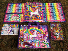 2 Lisa Frank Unicorn School Binders With Puzzles / Activity Coloring Book