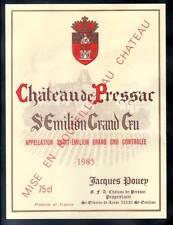 Etiquette Château De PRESSAC. 1985. (bords droits) SAINT EMILION Grand CRU