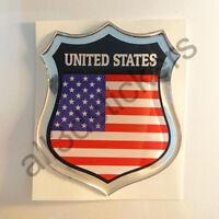 Adesivi Stati Uniti USA Scudetto 3D Bandiera Resinato Adesivo Vinile Resinati