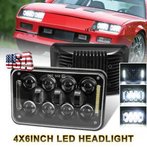 "Black 60W 4x6"" Led Headlight Hi/Lo Halo DRL Sealed Bulb Replacement HID Xenon"