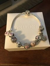 NEW AUTHENTIC PANDORA BRACELET WITH (9)AUTHENTIC PANDORA CHARMS