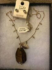 JM Tigers Eye Goldtone Leaf Necklace With Earrings New with Tags