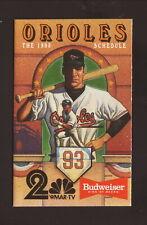 Baltimore Orioles--1993 Pocket Schedule--WMAR/Budweiser