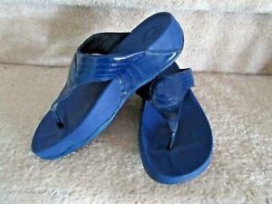 FITFLOP Walkstar 3 Cobalt Blue/Light Navy Patent Leather Thong Sandals  sz 7