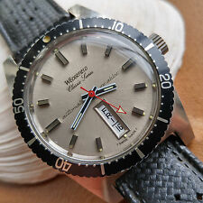 Vintage Wedgefield Day-Date Divers Watch w/Mint Dial,All Red Hand,Tropic Strap
