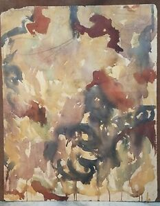 **Victor Di Gesu Oil Two Sided Watercolor Cubist & Abstract Figure Painting**