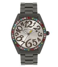 New Womens Betsey Johnson Gunmetal Colored Stainless Band Watch BJ00048-232 $69