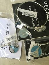 Disney Alex & Ani SILVER Retired Blue Cinderella, Dream And Believe Wish In Hand