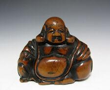 Netsuke Budai Hotei Zen Japanese Edo Era Japan Antique Hand Carved strap F/S EMS