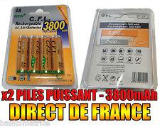 2 Piles AA 3800mAh Rechargeable Mignon LR6 1.2V Ni-Mh  TRES PUISSANT - DE FRANCE