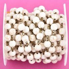 10mm beads fch0371a bronze 1yd WHITE HOWLITE SKULL Rosary Chain