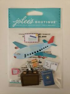 """Jolees Boutique scrapbooking stickers """" Airplane Travel"""" fly flying passport"""