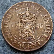 NETHERLANDS DUTCH EAST INDIES INDONESIA WILHELMINA 1945 2-1/2 CENTS