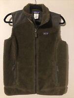 Patagonia Retro-X Vest Deep Pile Fleece Sage Brown Green Full Zip Women's Large