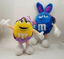 2 M&M Galerie Blue and Yellow Easter Plush Costume Bunny and Egg 2003 M & M