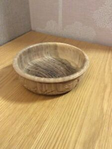 17cm Rustic Decorative Hand Carved Shallow Wooden Bowl