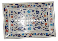 "7.5""x11"" Marble Tray Plate Rare Lapis Marquetry Inlay Work Home Decor Gift H1278"
